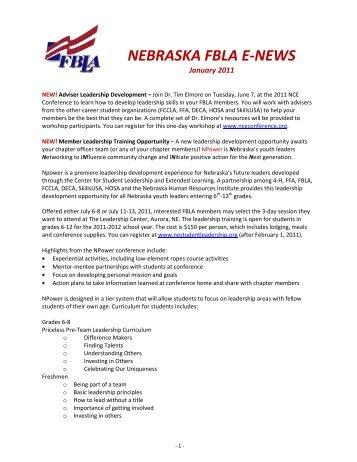 NEBRASKA FBLA E-NEWS