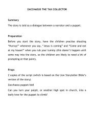 ZACCHAEUS THE TAX COLLECTOR Summary ... - Fosse Deanery