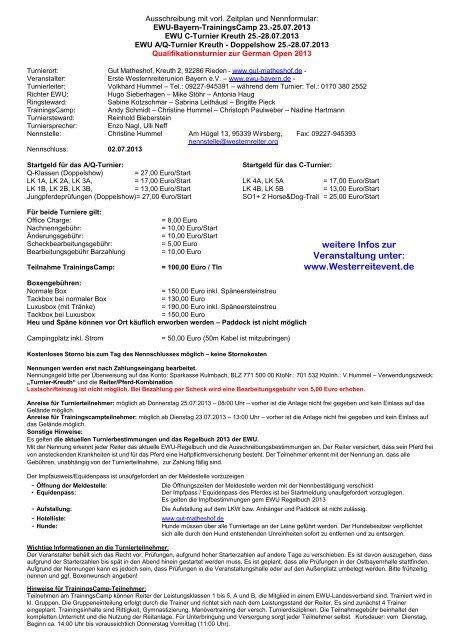 weitere Infos zur Veranstaltung unter: www.Westerreitevent.de
