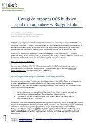 Uwagi do raportu OOS budowy spalarni odpadów w Białymstoku