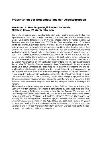 Protokoll und Berichte aus den AG's - Schnittstellenkonferenzen ...