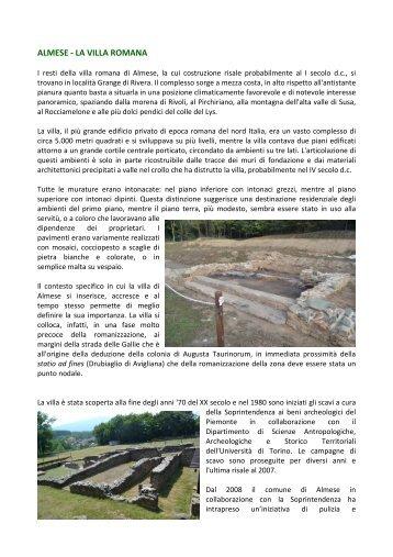 Scheda descrittiva Villa Romana - Valle di Susa. Tesori di Arte e ...