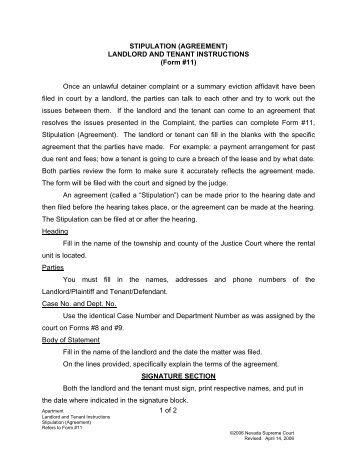 Unlawful Detainer Stipulation and Judgement - Superior Court of ...