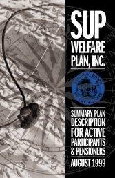 SUP Welfare Plan's Summary Plan Description - Sailors' Union of ...