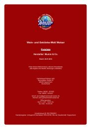 Preisliste für Hersteller: Mumm & Co. - und Getränke-Welt Weiser