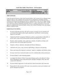 Page 1 of 5 South Tahoe Public Utility District – Job Description JOB ...