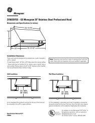 Ge Monogram Appliances Zv36ssfss Quick Specs