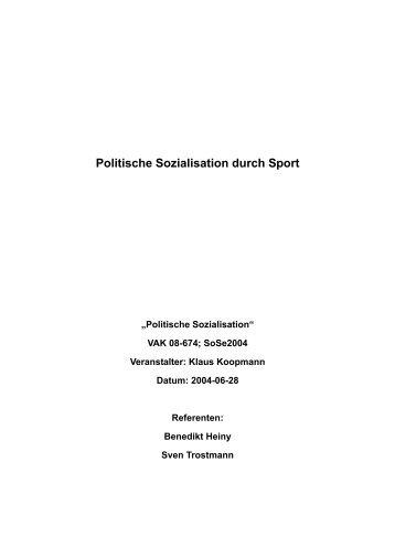 Politische Sozialisation durch Sport - heiny.info