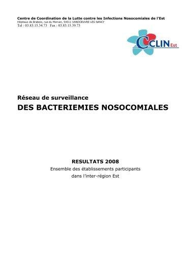 Rapport Bactériémies CClin Est : résultats 2008