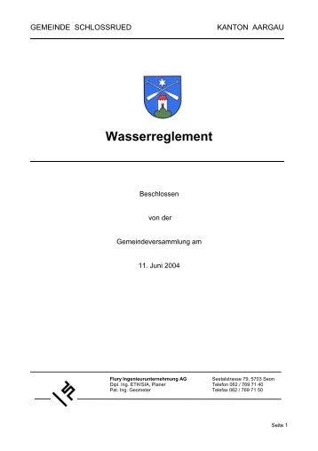 Wasserreglement - Gemeinde Schlossrued