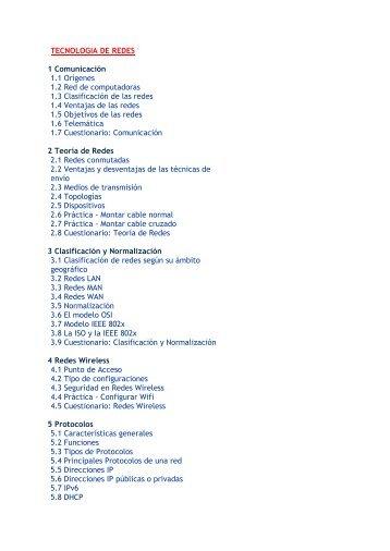 TECNOLOGIA DE REDES 1 Comunicación 1.1 Orígenes 1.2 Red de ...