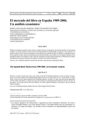El mercado del libro en España 1989-2006. Un análisis económico*