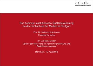 Das Audit zur Institutionellen Qualitätssicherung an der Hochschule ...