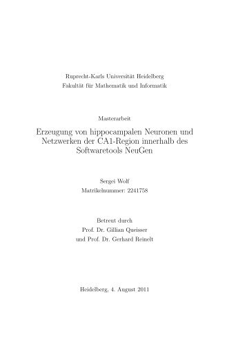 Erzeugung von hippocampalen Neuronen und ... - G-CSC Home