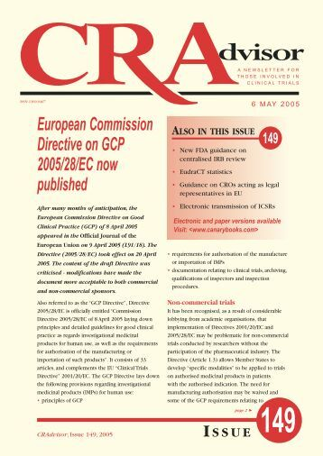 European Commission Directive on GCP 2005/28/EC ... - Canary Ltd