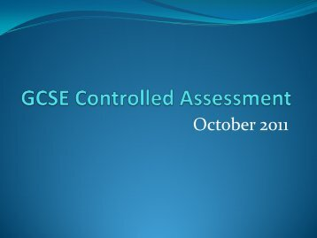 GCSE Controlled Assessment