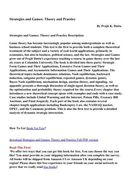 prajit dutta strategies and games