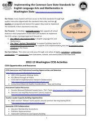 CCSS Implementation and Resources - Washington Association of ...