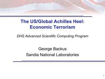 The US/Global Achilles Heel - Sandia National Laboratories