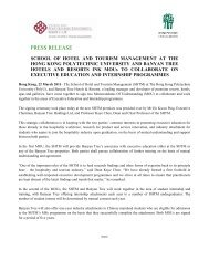 press release - School of Hotel & Tourism Management - The Hong ...