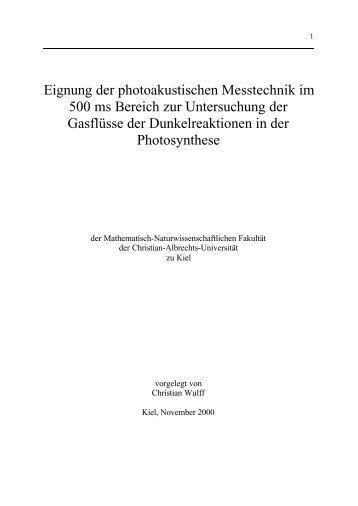 Eignung der photoakustischen Messtechnik im 500 ms Bereich zur ...