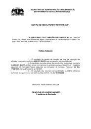 EDITAL DE RESULTADO Nº 45/2009-SAM01