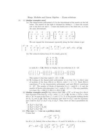 Rings, Modules and Linear Algebra — Exam solutions - Neil Strickland