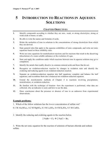 Printables Reactions In Aqueous Solutions Worksheet ch 4 aqueous reactions and solution stoichiometry a note on 5 introduction to in solutions