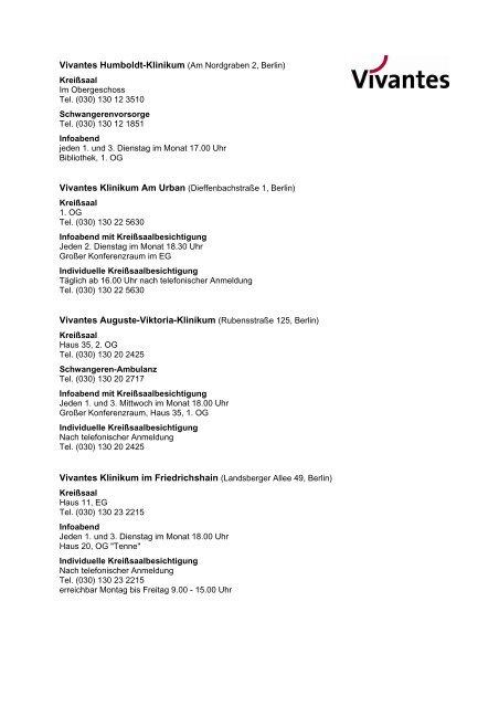Vivantes Humboldt-Klinikum (Am Nordgraben 2, Berlin) Vivantes ...