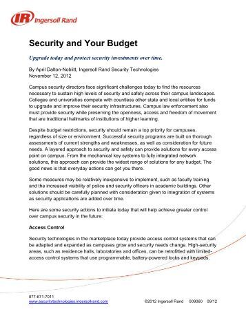 Security and Your Budget - Security Technologies
