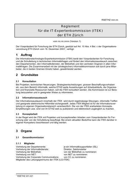 neues Reglement der ITEK: Vorschlag - ITEK - ETH Zürich