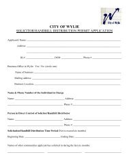Solicitors Permit - City of Wylie