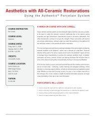 Aesthetics with All-Ceramic Restorations - Jensen Dental