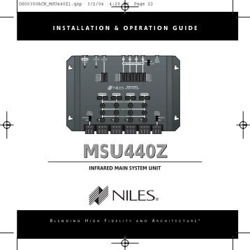 MSU440Z Manual - Electronic Warehouse