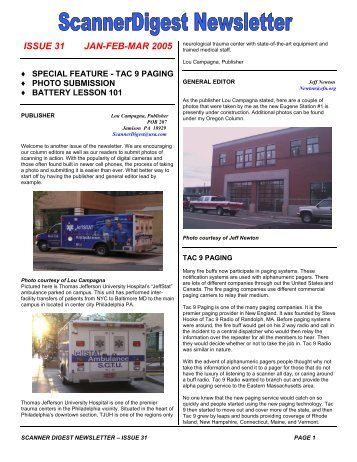 Issue 31 - Scanner Digest Newsletter