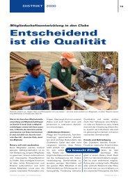 Entscheidend ist die Qualität - Rotary Schweiz