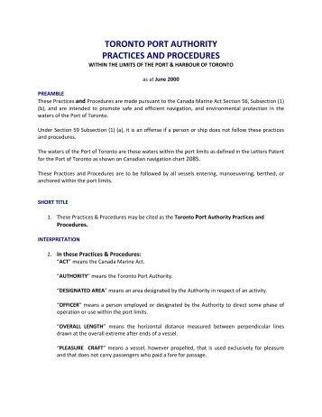 TORONTO PORT AUTHORITY PRACTICES AND PROCEDURES
