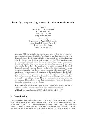 Steadily propagating waves of a chemotaxis model