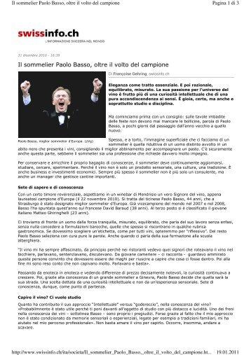 Il sommelier Paolo Basso, oltre il volto del campione - ceresiovini.ch