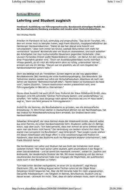 Lehrling und Student zugleich - Berufsakademie Hamburg