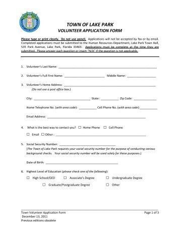 town-of-lake-park-volunteer-application-form Volunteer Fire Department Application Forms on volunteer library application, volunteer fire company, fire department job application, volunteer fire recruit,