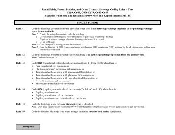 Urinary Histology Rules Text Format - SEER