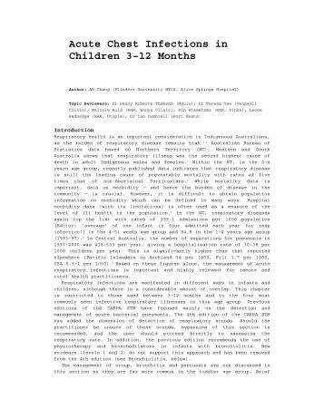 Acute Chest Infections in Children 3–12 Months - CARPA - central ...
