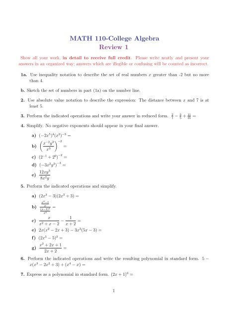 college algebra problems with solutions pdf