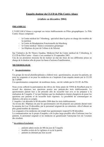 Enquête douleur du CLUD de Pôle Centre Alsace (réalisée ... - CNRD
