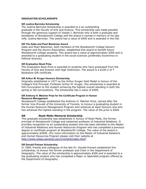 Scholarships For College >> Graduation Scholarships Woodsworth College University Of