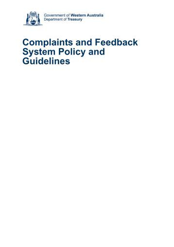 Complaints and Feedback System Policy and Guidelines