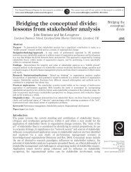 Bridging the conceptual divide: lessons from stakeholder analysis