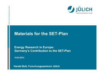 SetPlan Conference-Berlin-Materials for the ... - SETIS - Europa
