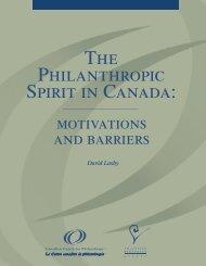 The philanthropic spirit in Canada: motivations ... - Imagine Canada